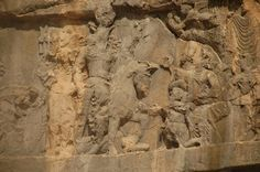 Sasanian Empire - Detail of the rock Reliefs in Tang-e Chowgan Gorge, Bishapur (241-272). In the center, Shapur's triple victory, which was also the theme of the second relief at Bishapur. Underneath the king's horse is the Roman emperor Gordian III, who was killed in 244; elsewhere, Philippus Arabs, who was made emperor by Shapur; and to the left, is the captured Valerian. It's echoing relief at Naqš-i Rustam.