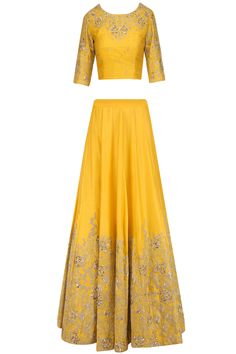 Yellow and gold floral embroidered lehenga set available only at Pernia's Pop Up Shop.