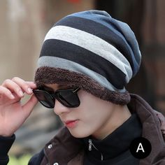 0452c109f52f4 Thick fleece beanie hat for men colorful striped winter hats outdoor wear