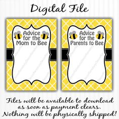 This listing is for a high resolution digital sheet of advice cards. This listing includes both Mom to Bee and Parents to Bee versions.  You will