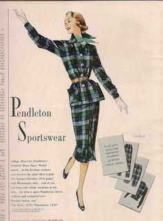 1955 PENDLETON Plaid Women's SPORTSWEAR Suit #Vintage #FASHION Art Illustration #Ad