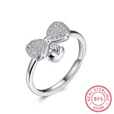 925 Sterling Silver Butterfly Bow Diamond Opening Ring