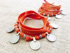 Matching Gypsy Coin Anklets w Orange and Gold Silk by gypsykicks