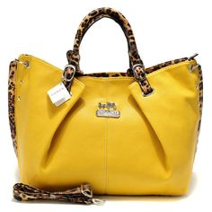 """Coach Madison Leopard Large Yellow Satchels ACM [Coach0A1747] - Coach Madison Leopard Large Yellow Satchels ACM Product Details This edgy update retains the classic luxury of the original, crafted in glove-tanned leather and finished with a secure zip-top, a fabric lining and archive-inspired handles. -Size:13 4/5"""" x 5"""" x 11 4/5""""-Leather with leopard-Logo plate in front-Zip-top closure,"""