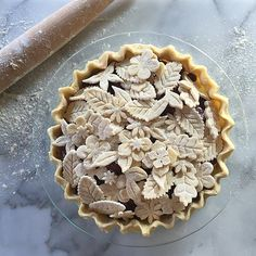 This is so pretty!!! Love the leaf details, pie is better than cake, desserts, Blueberry & blackberry
