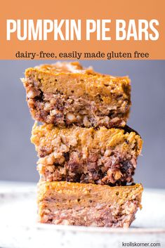 No time to make pumpkin pie? All you'll need for these dairy free pumpkin pie walnut bars is a food processor and your oven to bake them! Dairy Free Pumpkin Pie, Pumpkin Pie Bars, Pumpkin Dessert, Pumpkin Recipes, Fall Recipes, Pumkin Pie, Pie Dessert, Thanksgiving Recipes, Holiday Recipes
