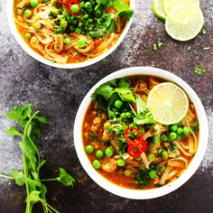 This Easy Slow Cooker Thai Chicken Noodle Soup makes it easy to enjoy your favorite spicy, aromatic, authentic Thai soup at home!