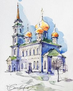 Cathedral in Kremlin, Tula. It was sunny day. Sketch by Artist Kristina Gavrilova @xtina_gavrilova_art in Instagram #russia #kremlin #micron #art #painting #watercolor #watercolour #sketch #paint #drawing #sketching #sketchbook #travelbook #archisketcher #sketchaday #sketchwalker #sketchcollector #traveldiary #topcreator #usk #urbansketch #urbansketchers #скетчбук #скетч #скетчинг #pleinair #aquarelle #watercolorsketch #usk #architecture #painting #illustration