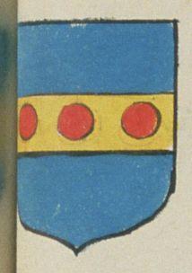 Michel BRARD, Marchand à Saumur. Porte : d'azur, à une fasse d'or chargée de trois tourteaux de gueules | N° 177 > Saumur