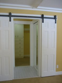DIY barn door can be your best option when considering cheap materials for setting up a sliding barn door. DIY barn door requires a DIY barn door hardware and a Double Closet Doors, Double Barn Doors, Interior Sliding Barn Doors, Sliding Barn Door Hardware, Sliding Doors, Door Hinges, Gate Hardware, Closet Door Alternative, Door Alternatives