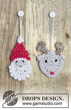 Gehaakte kerstman en rendier voor Kerst van DROPS Cotton Light. Gratis patronen van DROPS Design.