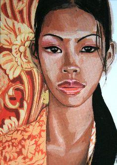 Titouan Lamazou : Dayu Tattoo Aquarelle, Afrique Art, Art Original, Various Artists, Beautiful Artwork, Black Art, Pretty Pictures, Love Art, Portraits