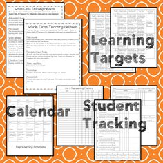 This Representing Fractions teaching unit provides 10 days of instruction Teaching Methods, Teaching Activities, Math Lesson Plans, Math Lessons, Fractions, 3rd Grade Math Worksheets, Data Tracking, Learning Targets, Math Manipulatives