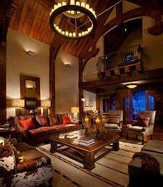 Hunter & Co. Rustic Interior ~ love the sofa!