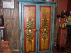 Mexican Rustic Furniture, love this! Painting Antique Furniture, Home Decor Furniture, Rustic Furniture, Painted Furniture, Hacienda Decor, Spanish Style Decor, Painted Armoire, Mexican Furniture, Mexican Home Decor