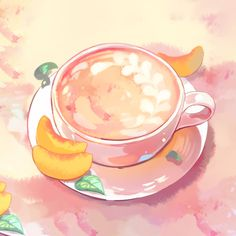 Artwork: Peach Milk Tea - The Gateway Peach Aesthetic, Aesthetic Anime, Aesthetic Vintage, Tea Wallpaper, Peach Paint, Tea Cup Art, Peach Drinks, Tea Illustration, Tea And Books