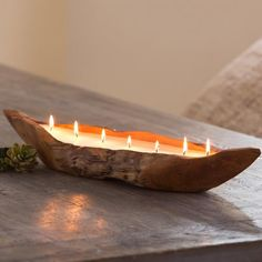 Handcrafted Teak Boat Candle   VivaTerra