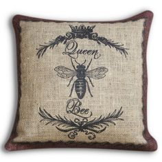 Find it at the Foundary - 16 in. Queen Bee Burlap Pillow