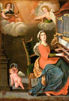 PINTURA - Página web de Renate Takkenberg, fotografía de Toledo. Santa Cecilia, Catholic Crafts, Music Painting, Cherub, Musicals, Saints, Waves, Musical Instruments, Paintings