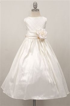 Ivory Dupinis shantung flower girl dress