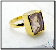 Rose Quartz Gems 18 C Yellow Gold Plated Ecclesiastical Ring Sz 9 Gprroq9-6835 http://www.riyogems.com