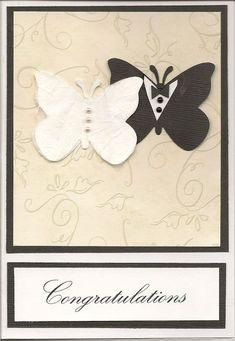 Inspirace na ručně vyrobené svatební přání (Handmade wedding card). Wedding Day Cards, Wedding Shower Cards, Wedding Cards Handmade, Wedding Anniversary Cards, Greeting Cards Handmade, Butterfly Wedding, Butterfly Cards, Engagement Cards, Love Cards