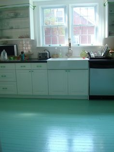 again with the tiffany blue. Painted Kitchen Floors, Painted Wooden Floors, Kitchen Paint, Wooden Flooring, Kitchen Flooring, Laminate Flooring, Bunker, Home Design Blogs, Southwest Kitchen