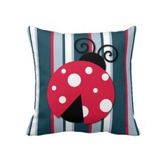 Ladybird On Stripes. Unique, fashionable, trendy, pretty and decorative throw pillow. With beautiful contemporary red, white and blue vertical stripe pattern print design, and cute image of ladybug. This fun and whimsical pillow is a cute kid's, mom's or nature and garden lover birthday present, or Christmas gift. Original, cool and colorful pillow to decorate your master or children's bedroom, patio or deck, cabin, beach house, country cottage, river or lake vacation home, or office with.
