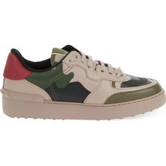 VALENTINO Low top trainers ($785) ❤ liked on Polyvore featuring shoes, sneakers, taupe comb, camouflage sneakers, camouflage shoes, camouflage footwear, camo sneakers and valentino shoes