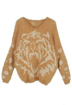 Yellow Long Sleeve Polka Dot Tiger Print Sweater