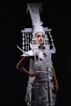 Russia-based artist Asya Kozina crafts paper into Mongolian wedding costumes.