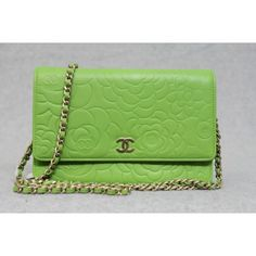 #Chanel Spring 2012 Green Camellia wallet on a chain bag $2398