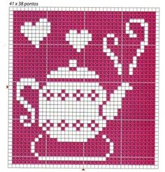 ♥ ♥ cross stitch - good idea for filet crochet block for kitchen curtains Cute Cross Stitch, Cross Stitch Charts, Cross Stitch Designs, Cross Stitch Patterns, Crochet Chart, Filet Crochet, Cross Stitching, Cross Stitch Embroidery, Beading Patterns