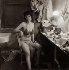 Diane Arbus Stripper, Miss Sata Lyte, in her dressing room with 1962