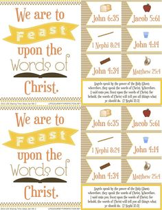 2016 LDS Sharing Time Ideas for January Week 2: We are to feast upon the words of Christ.