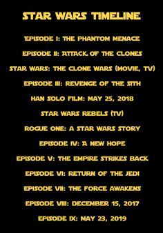 Star Wars film timeline. >> EPISODE 9 COMES OUT ON MY 20th BIRTHDAY I'M FREAKING OUT