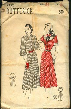 Lovely longer skirted 1940s daywear dresses from Butterick (4462).