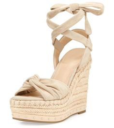 Grayce Espadrille Wedge Sandal by KENDALL + KYLIE. Kendall + Kylie suede espadrille sandal with studded trim. Jute wedge heel with platform. Open toe with knot at vamp....