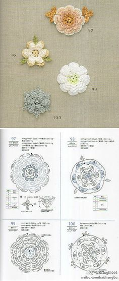 Crochet Knitting Handicraft: Floral motifs