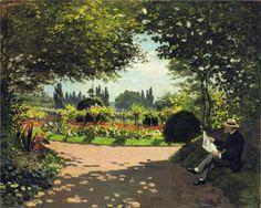 Adolphe Monet Reading in the Garden, by Claude Monet(1866)