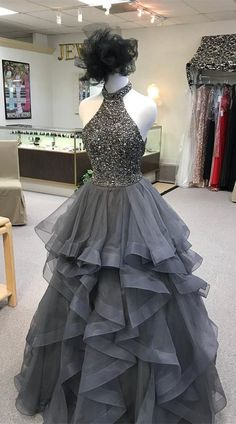 941b31a1c090 Sexy Ruffled Red Party Dresses,2018 High Neck Gray Prom Dresses With Open  Back,Backless Prom Dress,Tulle Prom Dress