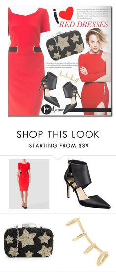 """Street Style: Joseph Ribkoff Red Dress"" by beebeely-look ❤ liked on Polyvore featuring Joseph Ribkoff, Nine West, La Regale, Yves Saint Laurent, red, reddress, premiereavenue, premiereavenueboutique and JosephRibkoff"