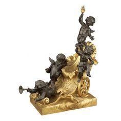 Transitional Louis XV/XVI Style Gilt and Patinated-Bronze Figural Group of Four Cupids and a Chariot Cast by Raingo Freres, late century The cupids modeled at play, carrying a flaming torch, trumpet and a small bouquet, on a rectangular base. Rococo, Baroque, Crystal Stemware, Small Bouquet, Art Auction, Cupid, Floral Arrangements, Art Decor, Art Nouveau
