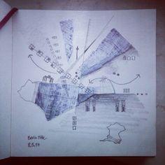 New one, called 'Berlin Mitte'. #drawing #pencil #sketchbook #collage #JulieMehretu #Berlin