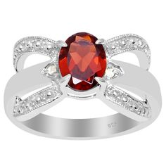 Orchid Jewelry 925 Sterling Silver 1 1/2 Carat Garnet and Diamond Accent Anniversary Ring