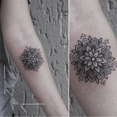 Floral mandala tattoo on the left forearm. Tattoo artist: rachainsworth