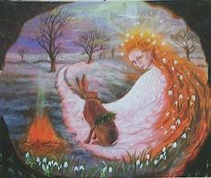 """Imbolc Blessings What is waking up in you? What hidden gifts or desires want to take form in the sunlit world?  What wants to blossom in your life? Listen closely to the quiet whispers inside of you that prompt you to take your life in a new direction or pursue a passion; the ones you push down as impractical or terrifying. Feel which one makes your heart beat faster. Imagine this hunger as a seed you can plant and tend in the sunlit world.  Art: """"Luna Meets Brigid at Imbolc"""" by Wendy Andrew"""