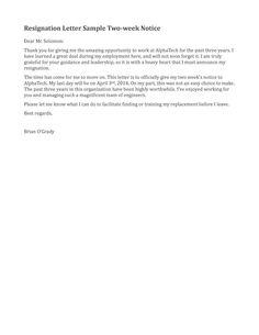 resignation letter sample 2 weeks notice   Free2IMG.com   yup ...