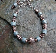 Copper Necklace  Ceramic Necklace  Copper Jewelry by TouchOfSilver