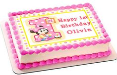 BABY MINNIE MOUSE Birthday Edible Birthday Cake Topper OR Cupcake Topper, Decor - Want to surprise your special someone on his/her birthday? How about choosing a personalized cake topper to reflect your emotions! Well, trust to get you the best. Pastel Minnie Mouse Betun, Minnie Baby, Mickey Mouse, Edible Cake Toppers, Birthday Cake Toppers, Cupcake Toppers, Pastel Rectangular, Bolo Minnie, Minnie Mouse Birthday Cakes